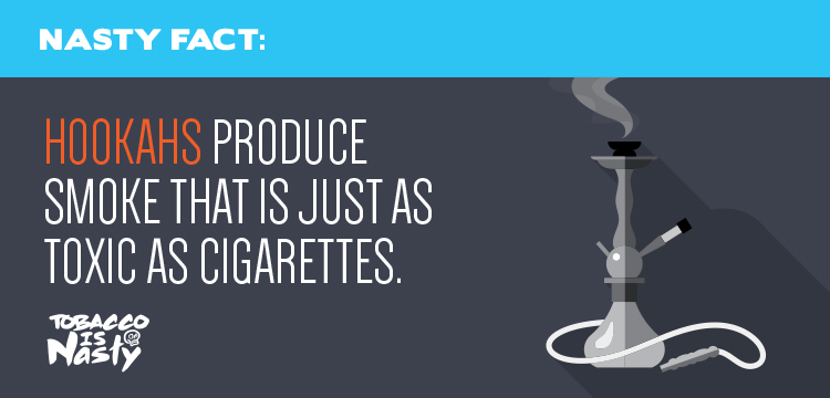 Hookahs produce smoke that is just as toxic as cigarette smoke