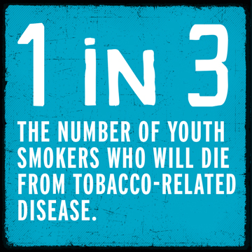 1 in 3 youth smokers will die from tobacco-related disease