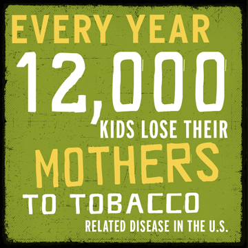 Every year 12,000 kids lose their mothers to tobacco-related disease