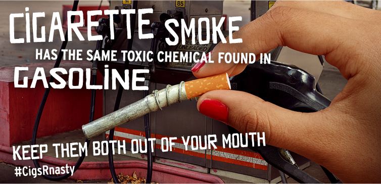 Cigarette smoke has the same toxic chemical found in gasoline